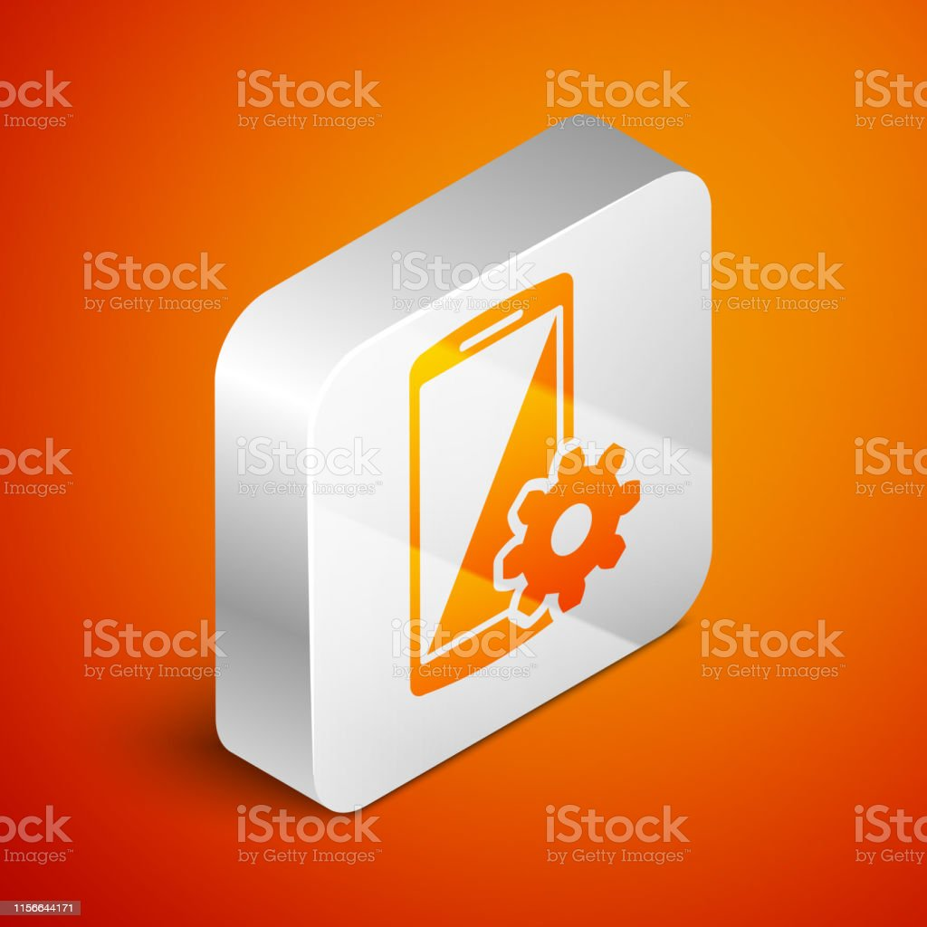 Isometric Setting On Smartphone Screen Icon On Orange