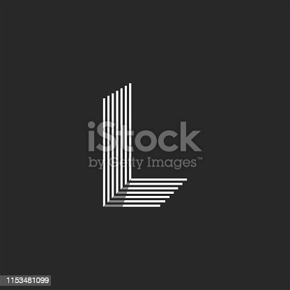Isometric shape letter L logo many parallel thin lines geometric form, creative stripes emblem