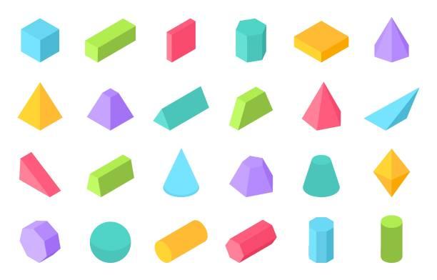 ilustrações de stock, clip art, desenhos animados e ícones de isometric shapes. 3d geometric form, flat geometry polygon objects such as prism pyramid cylinder sphere. vector isometric - cilindro formas geométricas