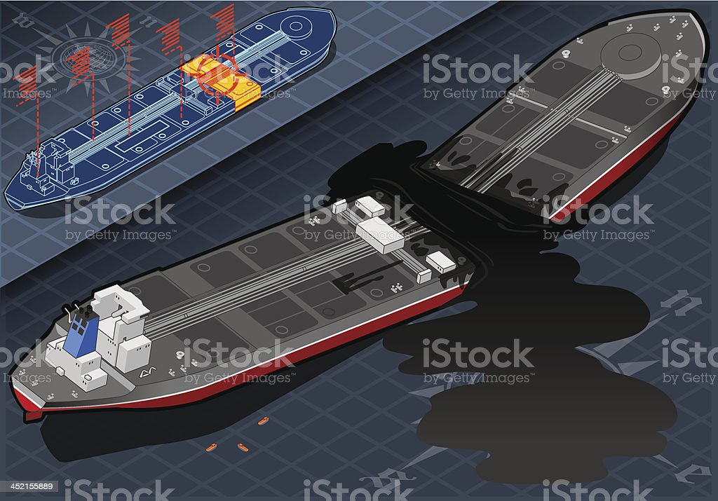 Isometric  Ship Tanker Destroyed in Two Parts royalty-free isometric ship tanker destroyed in two parts stock vector art & more images of accidents and disasters