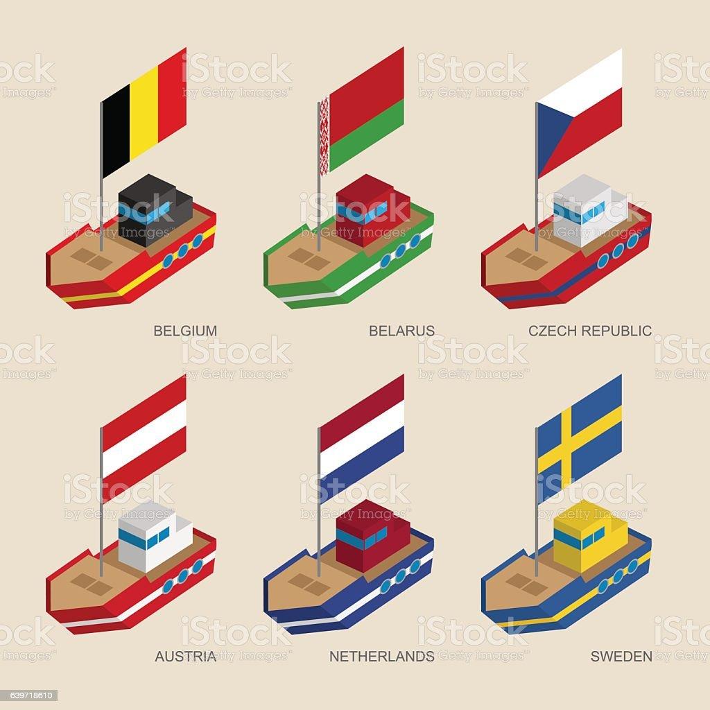 Isometric Ships With Flags Belgium Belarus Czech Republic Au 3dの