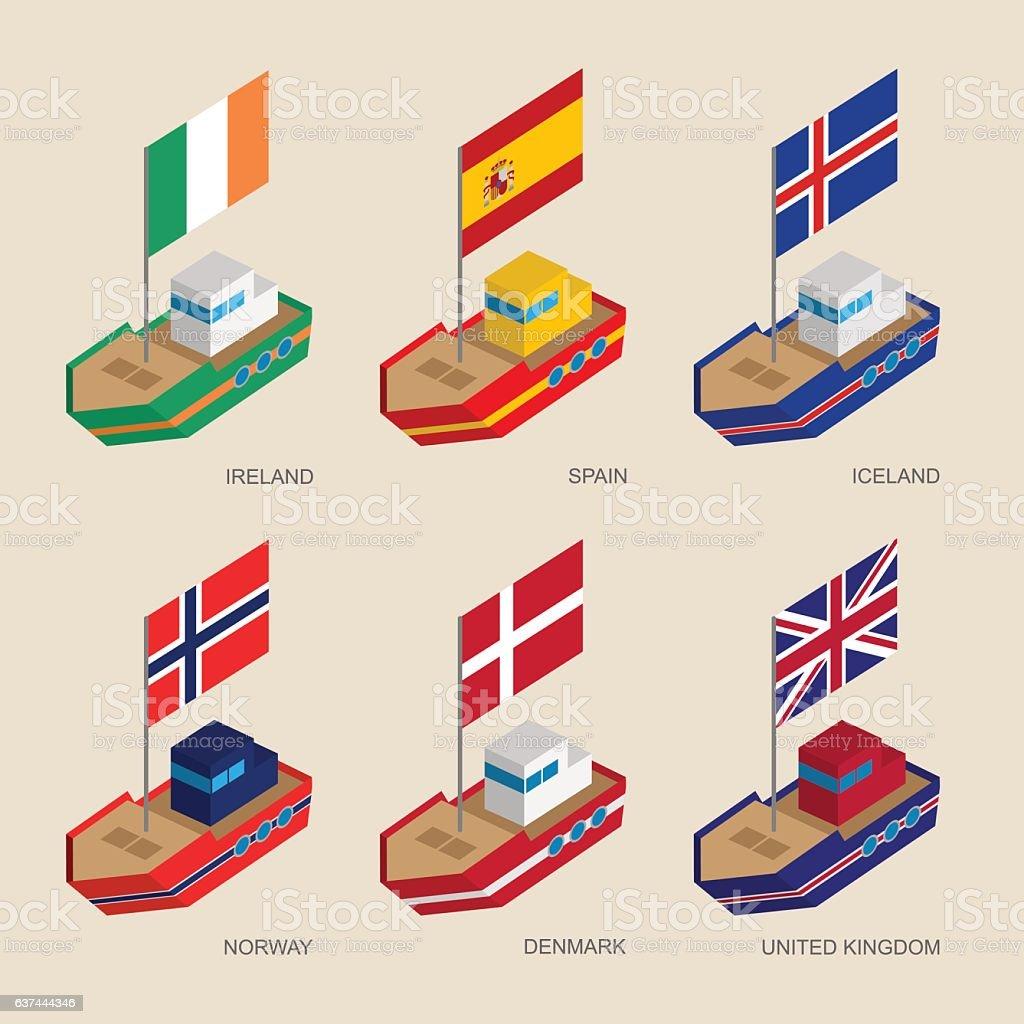 Isometric ships with flags: Denmark, UK, Spain, Norway, Ireland, vector art illustration