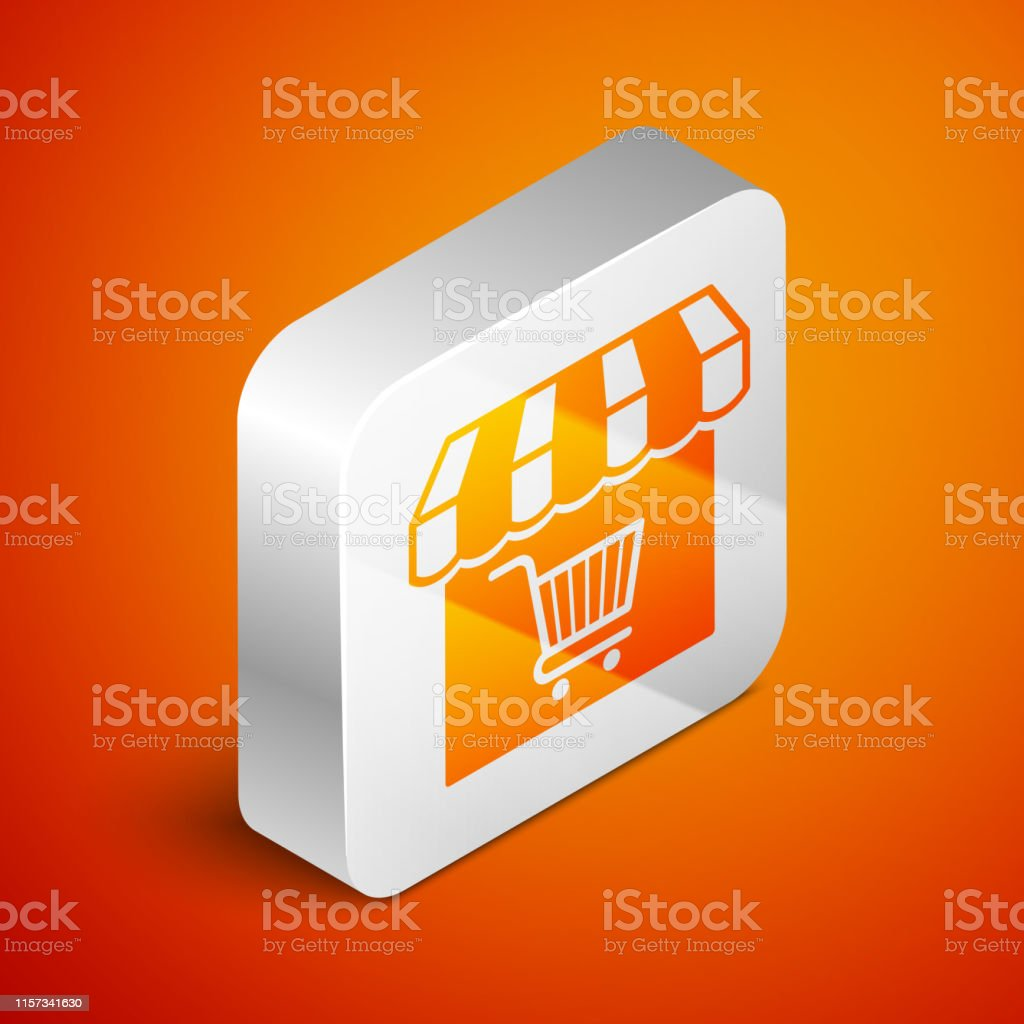 Isometric Shopping building or market store with shopping cart icon...