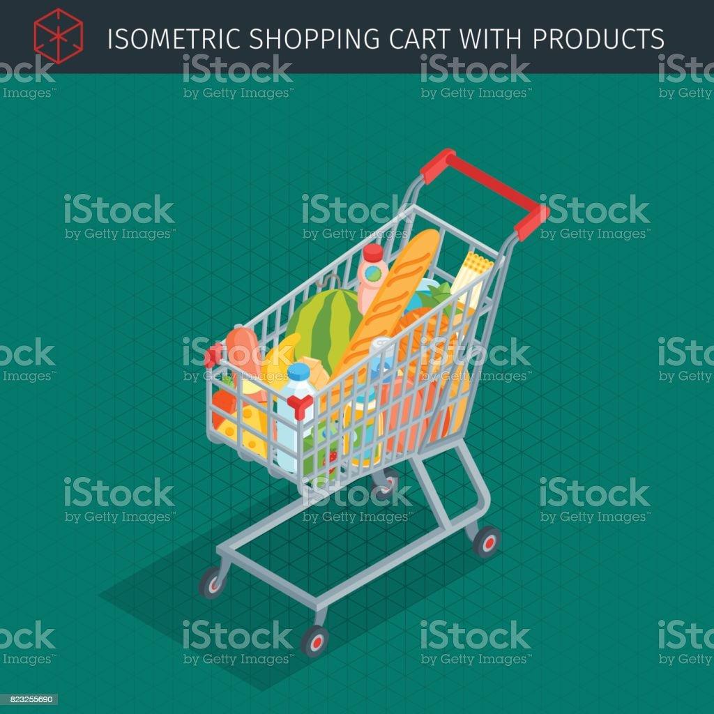 Isometric shopping cart full of groceries vector art illustration