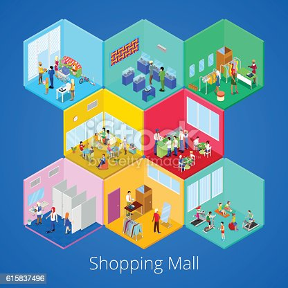 Isometric Shopping Mall Interior with Gym Fitness Club Boutique and Clothes Store. Vector illustration