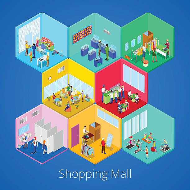 isometric shopping mall interior with boutique, gym club, clothes store - städtische mode stock-grafiken, -clipart, -cartoons und -symbole