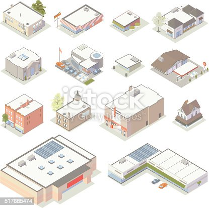 Detailed illustrations of shops include restaurants, a bank, a car dealership, a gas station/petrol station, movie theater, big box store, strip mall/mini mall, and a selection of other commercial properties representing a variety of businesses.