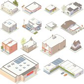 Isometric Shops and Businesses Illustration
