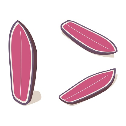Isometric shortboard surfboard standing set, 3d lying pink water sport object in various foreshortening.
