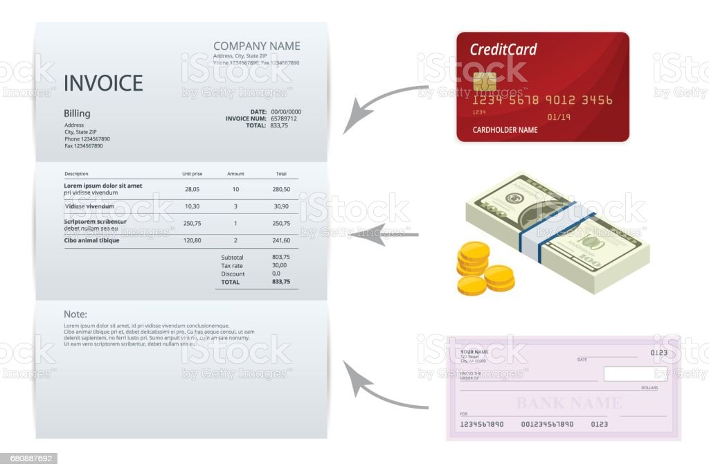 Isometric single Invoice, Bank check, cash and credit cards. Payment and billing invoices, business or financial operations sign. Vector concept for services rendered. royalty-free isometric single invoice bank check cash and credit cards payment and billing invoices business or financial operations sign vector concept for services rendered stock vector art & more images of accountancy