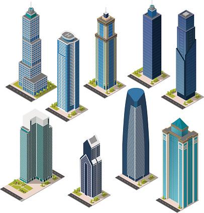 Isometric skyscraper city. Set landmarks. Isolated flat megapolis office buildings.