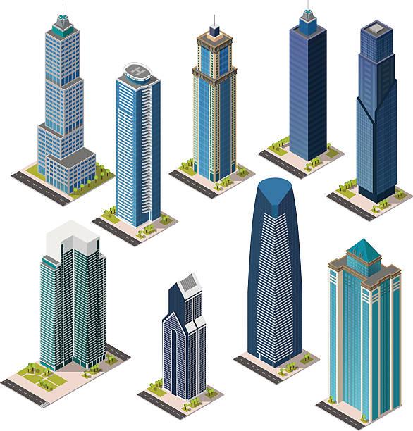 Isometric skyscraper city. Set landmarks. Isolated flat megapolis office buildings. vector art illustration