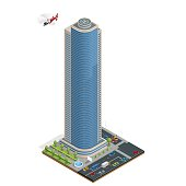 Isometric skyscraper with helipad on the roof composition with building and road isolated vector illustration Collection of urban elements architecture, home, road, intersection, traffic light, cars