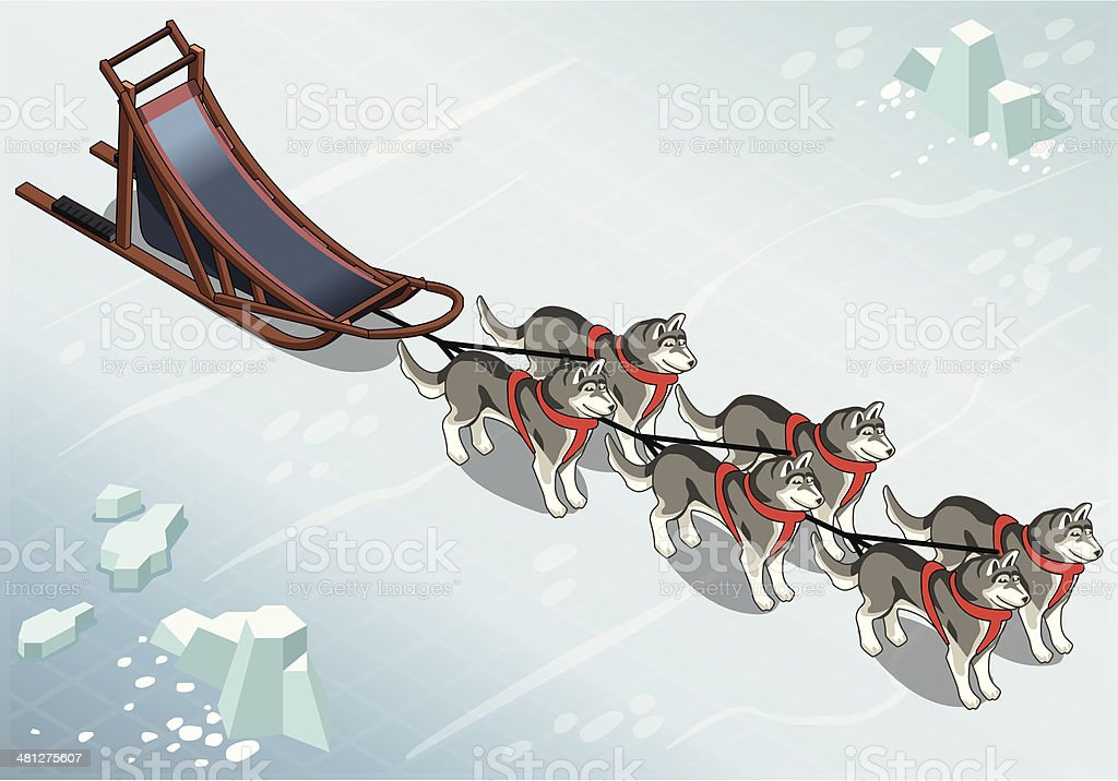 Isometric sled dogs in Front View on Ice vector art illustration