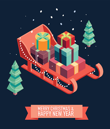 Isometric sleigh gifts Merry Christmas new year
