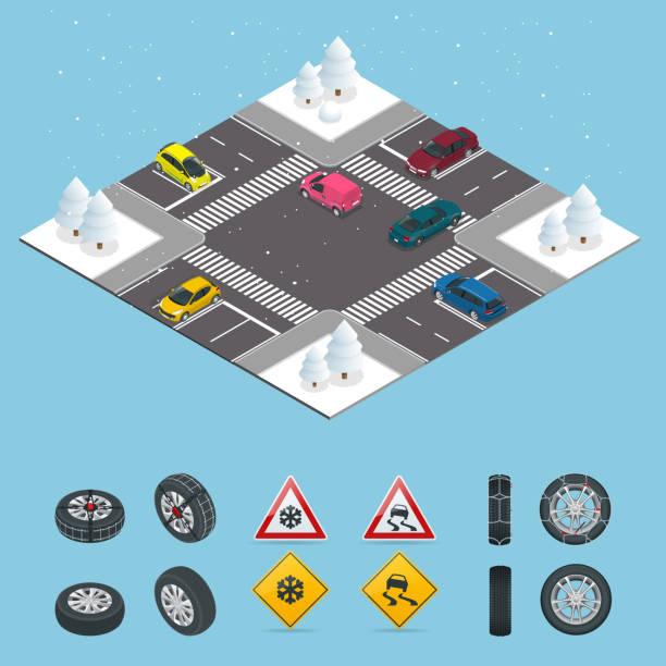 stockillustraties, clipart, cartoons en iconen met isometrische gladde, ijs, winter, sneeuw weg en auto's. let op sneeuw. winter rijden en verkeersveiligheid. stadsvervoer. - tractieapparaat