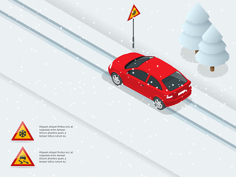 Isometric slippery, ice, winter, snow road and cars. Caution Snow. Winter Driving and road safety. Urban transport.