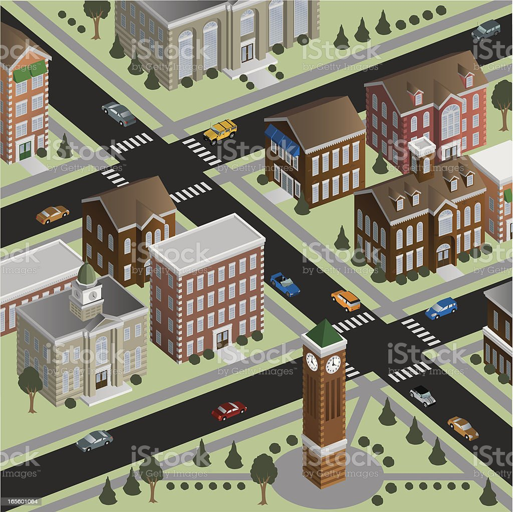 Isometric Small Town royalty-free stock vector art