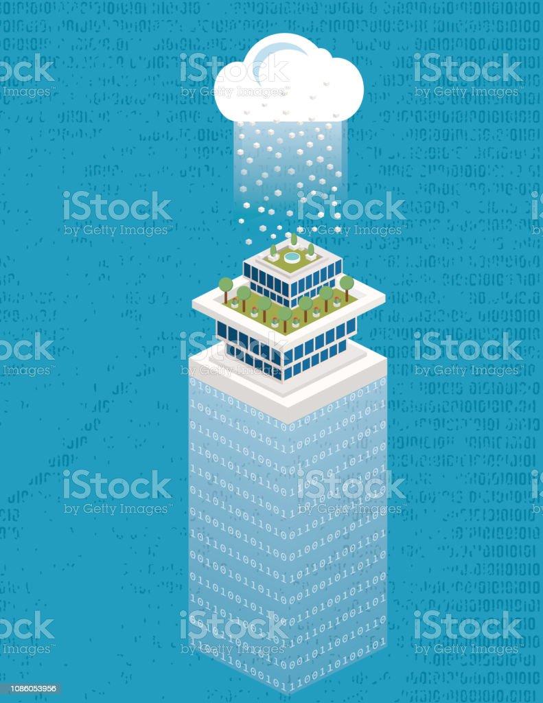 Isometrische Smart City mit Daten-Cloud-Technologie - Lizenzfrei Ansicht von oben Vektorgrafik
