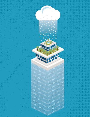Isometrische Smart City Mit Datencloudtechnologie Stock Vektor Art und mehr Bilder von Ansicht von oben