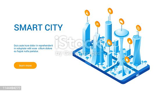 Isometric template for smart cityscape. Vector illustration of city with buildings, cars and trees