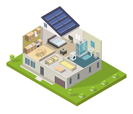 Isometric smart Family House design interior vector