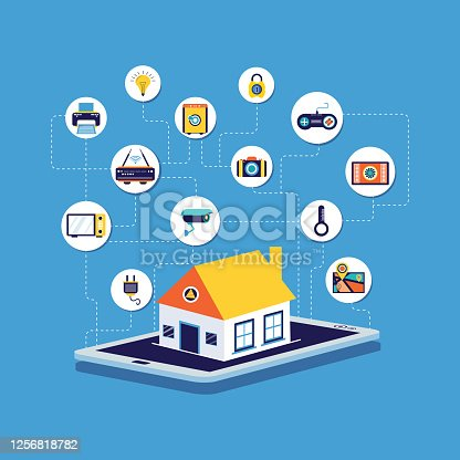 Home Automation,icons,digital tablet, Security, Isometric Projection, Internet of Things