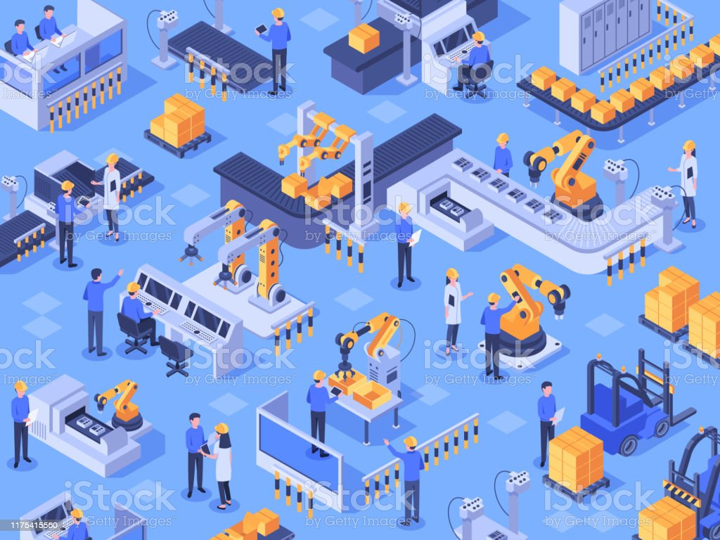 Isometric smart industrial factory. Automated production line, automation industry and factories engineer workers vector illustration - Grafika wektorowa royalty-free (Biznes)