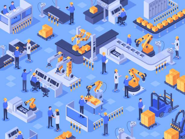 izometryczna inteligentna fabryka przemysłowa. zautomatyzowana linia produkcyjna, przemysł automatyki i fabryki inżynierów ilustracji wektorowych - produkować stock illustrations