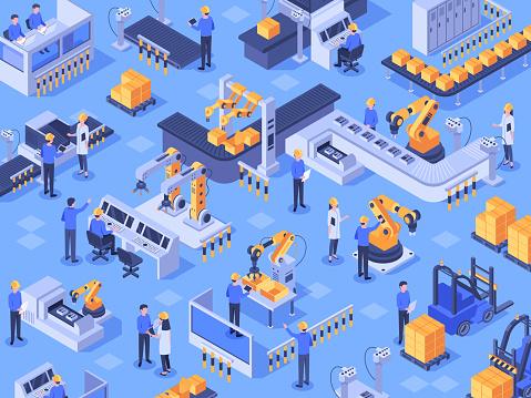 Isometric Smart Industrial Factory Automated Production Line Automation Industry And Factories Engineer Workers Vector Illustration - Stockowe grafiki wektorowe i więcej obrazów Biznes