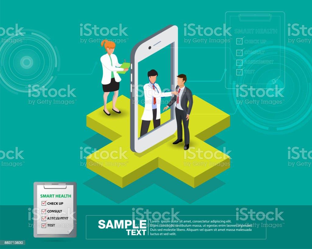 Isometrische smart mobile Gesundheit 3d Design-Darstellung - verfolgen Sie Ihren Gesundheitszustand durch Geräte – Vektorgrafik