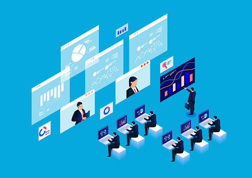 Isometric smart online webinar and online education and training concepts, data report research and analysis