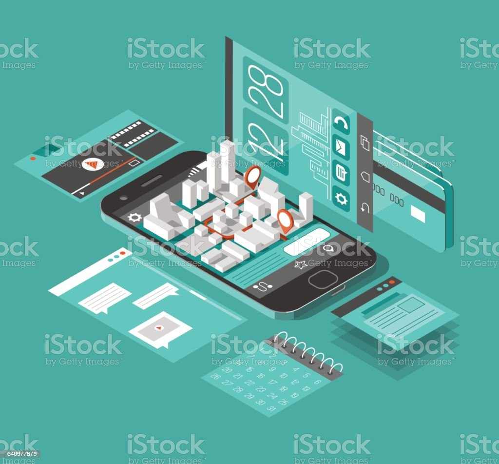 Isometric smart phone interface. Screen with different apps and icons. Map on mobile application.