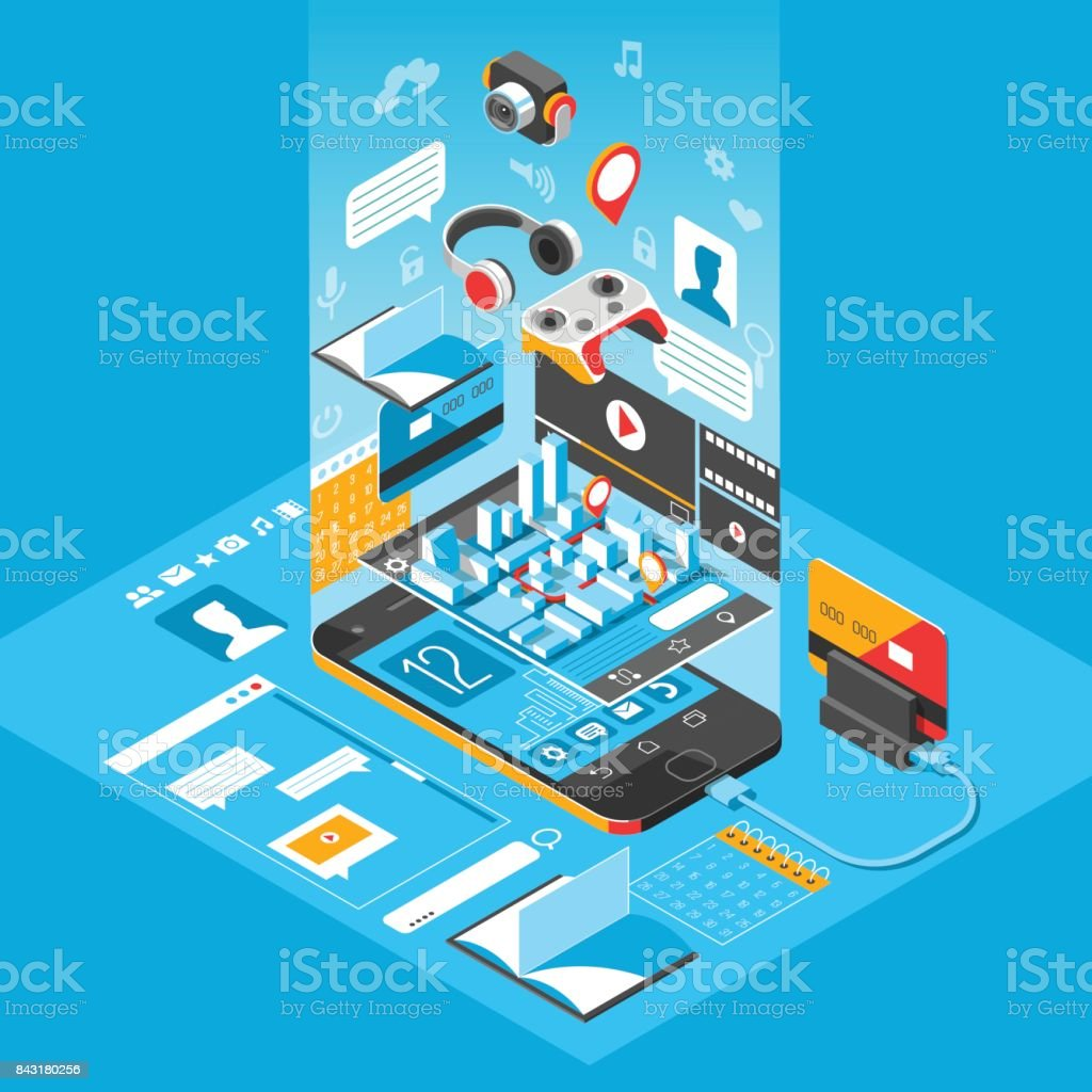 Isometric smart phone interface screen with different apps and icons isometric smart phone interface screen with different apps and icons map on mobile application sciox Choice Image
