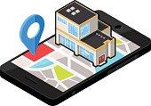 Isometric Smart Phone Locator - Department Store.