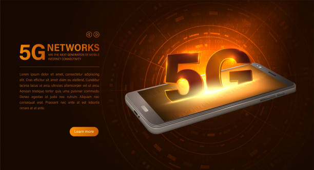 Isometric smartphone and 5G network icon. 5G new wireless internet wifi connection. Fifth innovative generation of the global high speed Internet network. Technological poster with lighting effects vector art illustration