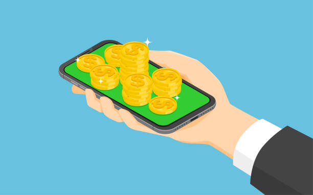 Isometric smartphone and money coins Isometric smartphone and money coins. budget backgrounds stock illustrations