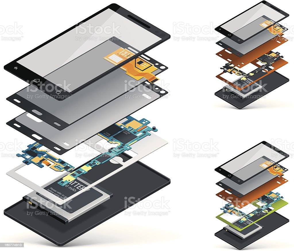 Isometric smartphone cutaway vector art illustration