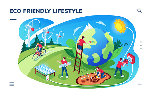 Isometric smartphone screen with eco friendly lifestyle concept. Ecology and green earth, sustainable energy. Wind turbine and solar panel electricity, sun and earth, flowers. Planet day theme