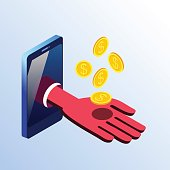 Isometric smartphone showing hand with coins