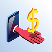 Isometric smartphone showing hand with dollar sign