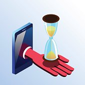 Isometric smartphone showing hand with hourglass