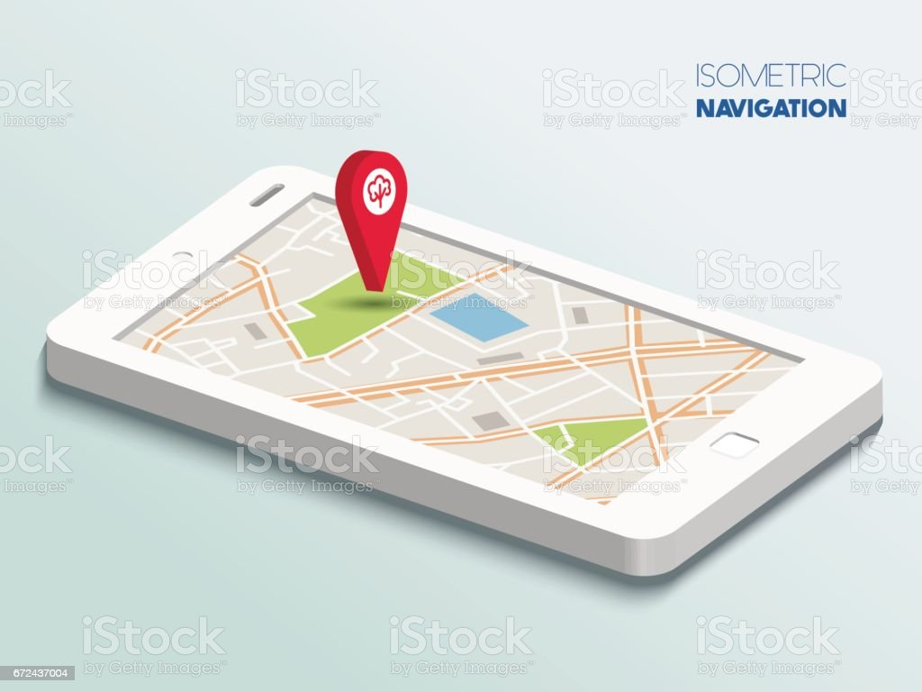 Isometric smartphone with map vector art illustration