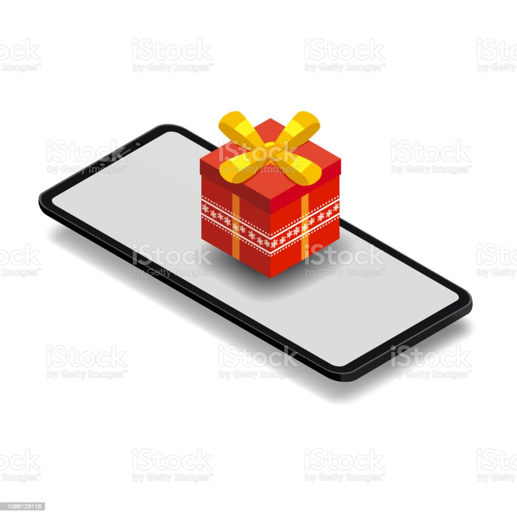 85f27506c Isometric Smartphone With Red Gift Box Online Shopping Concept Sale ...