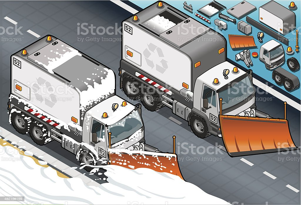 isometric Snow Plow Truck in Front View vector art illustration