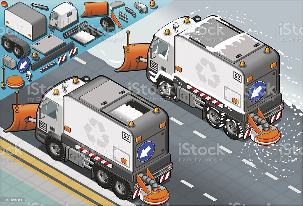 isometric Snow Plow Truck in Rear View vector art illustration