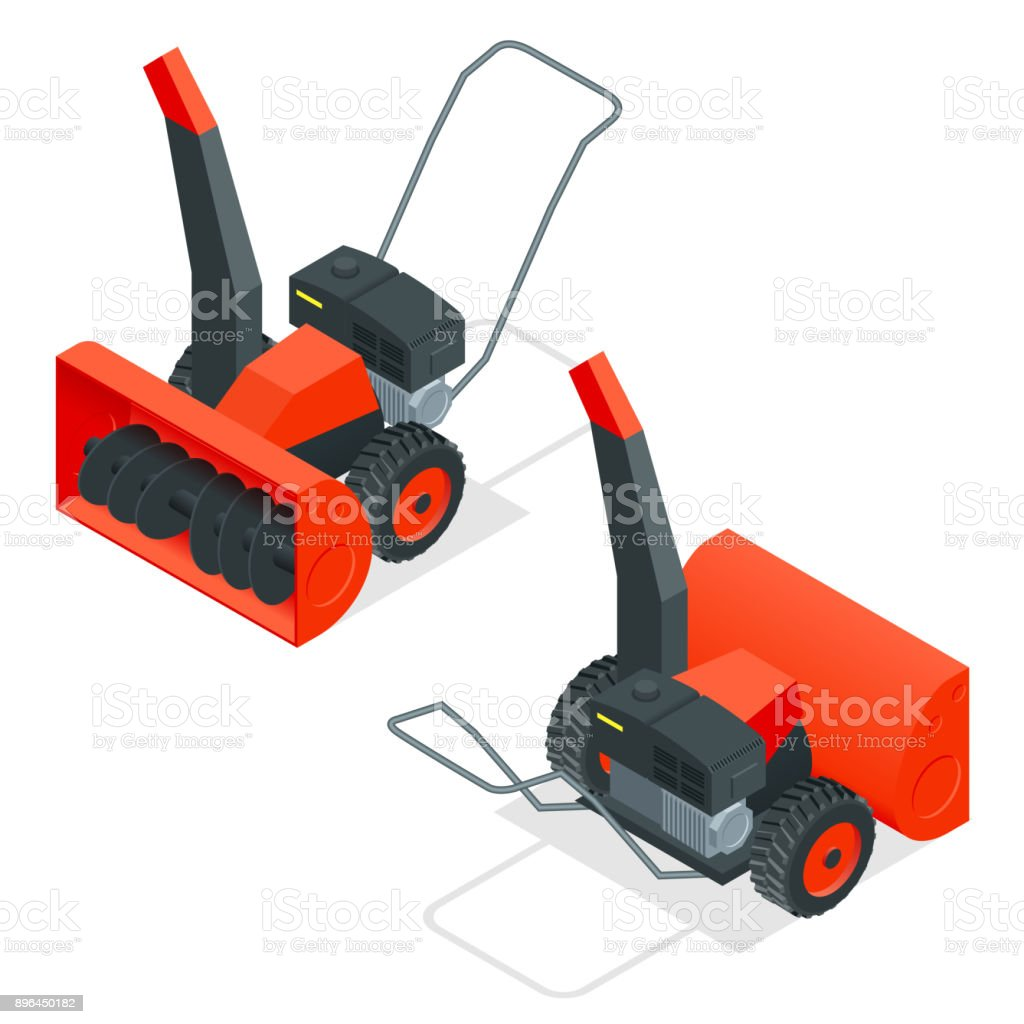 Isometric snow thrower. Cleans snow from sidewalks with snowblower. City after blizzard. Isometric vector illustration vector art illustration