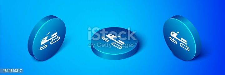 istock Isometric Snowmobile icon isolated on blue background. Snowmobiling sign. Extreme sport. Blue circle button. Vector 1314815317