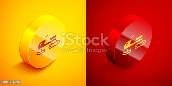 istock Isometric Snowmobile icon isolated on orange and red background. Snowmobiling sign. Extreme sport. Circle button. Vector 1301260796