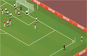 Detailed isometric corner kick. Layered and grouped for editability. Download includes EPS file and hi-res jpeg.